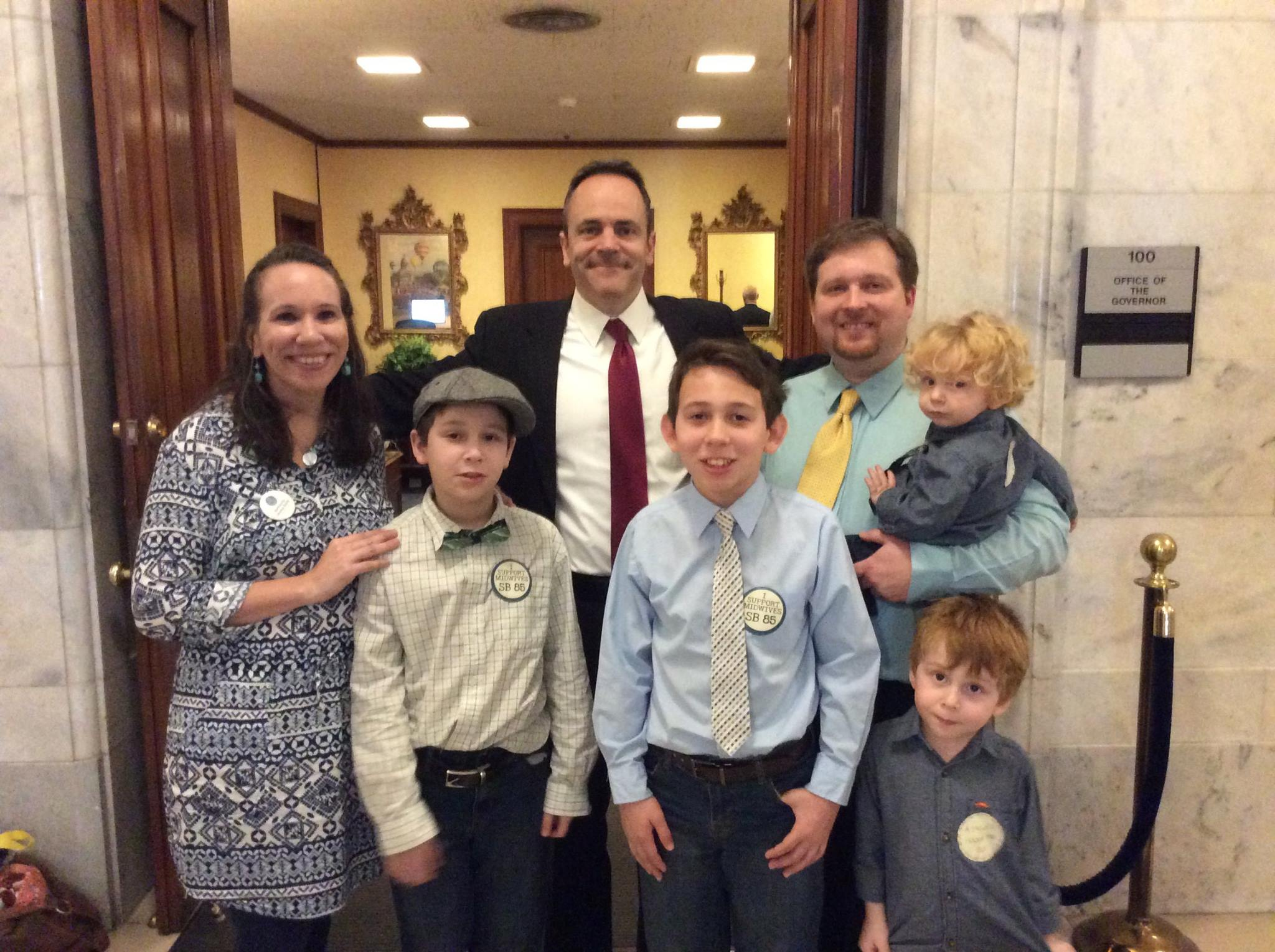 The Lasley family with Gov. Bevin